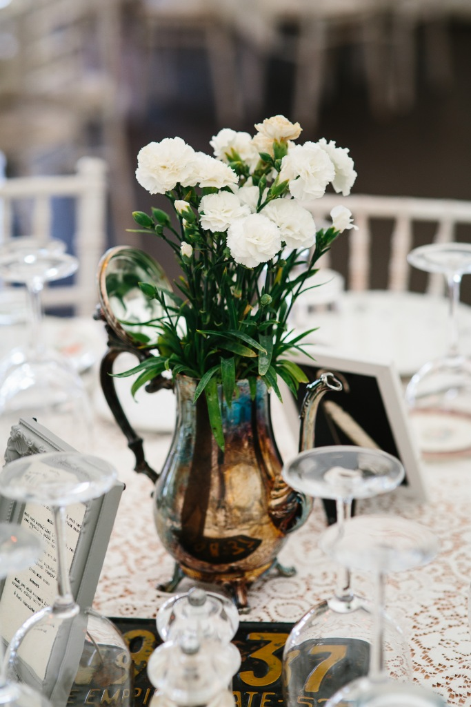 Vintage Coffee Pots & Potted Flowers for Table Decor