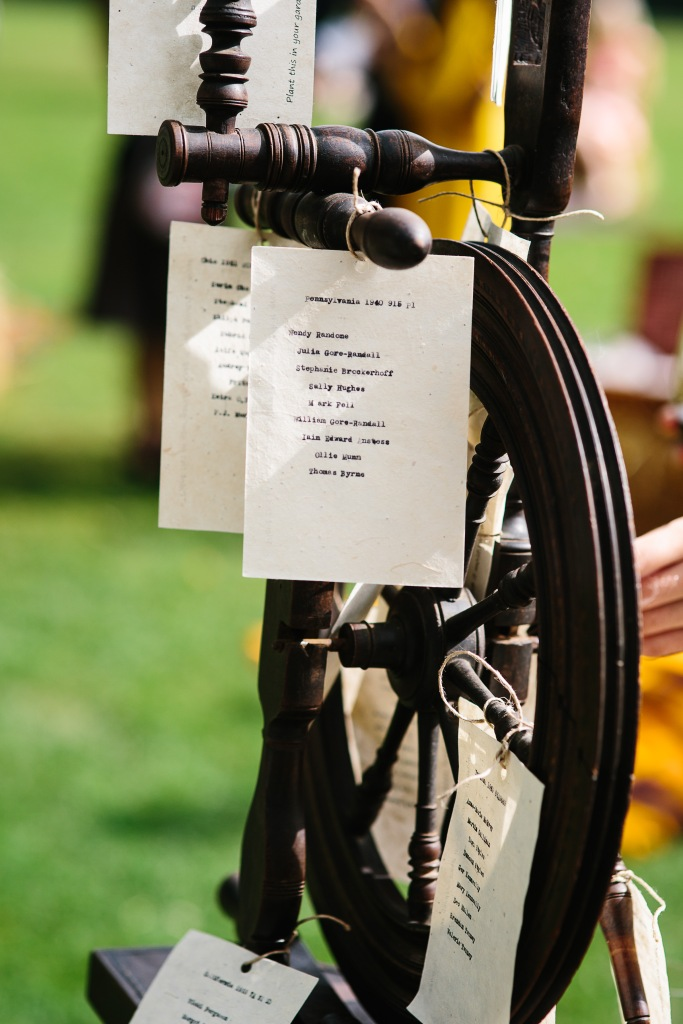 Place Settings Using Antique Type Writer and Spinning Wheel for Display